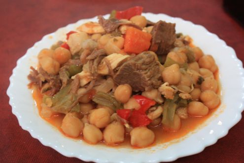 Ropa vieja a dish with Garbanzas chick peas.