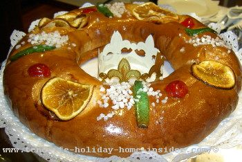 Roscon de Reyes a Spanish Christmas treat made with yeast and sometimes additional  cream while candied fruit decorate its top
