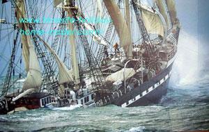 Rough seas with fishing ship in distress.