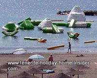 Rubber boats and floats by the Tenerife beach