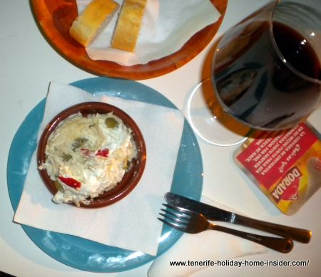 Russian salad Tapa with Rioja wine