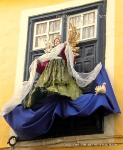 Sacred art angel sculpture  used as Christmas outside decoration in Tenerife North