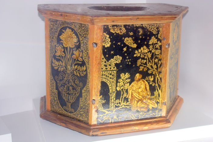 Sacred art timber box with rich ornamentation of museum standard.