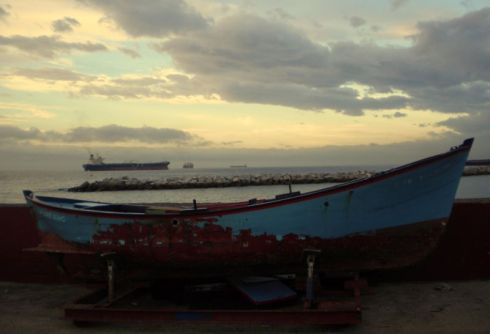 San Andres drydock sun-up with a gigantic, wooden fishing boat.