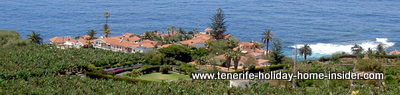San Pedro Tenerife coastal view with banana plantation and hamlet Rambla del Mar.