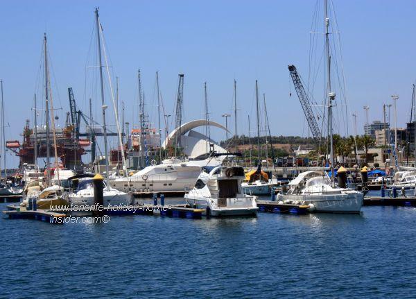 View of the Santa Cruz Auditorio Adan Martin behind the new oceanfront yacht harbor.
