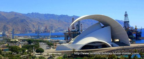 Santa Cruz Tenerife Free Port by distant view beyond the Auditorium Adan Martin.