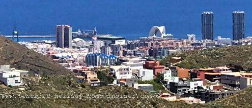 Santa Cruz capital seaside skyline bird-eye view of its Twin towers and auditorium