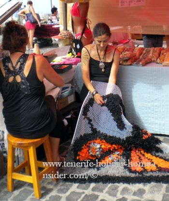 Self employed in Tenerife creating recycled carpets