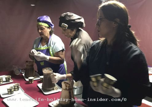 Voluntary workers were serving hot chocolate.