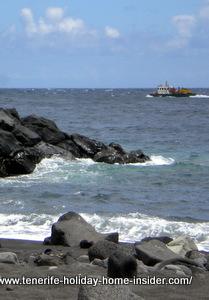 Ship approaching Santa Cruz port.