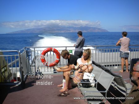 Tenerife transport, as depicted by small, but luxury Fred Olsen ferry on the way to La Gomera