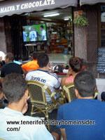 Spain football Tenerife cinema at sports bar La Longuera