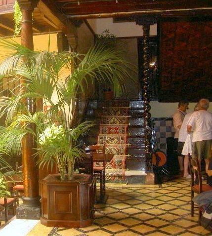 Stairs with antique carpet to first floor of Hotel in Calle Quintana,11 of Tenerife Puerto de la Cruz.