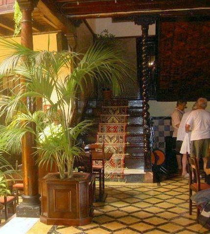 Stairs with antique carpet to first floor of Hotel in Calle Quintana,11 of Tenerife Puerto de la Cruz.