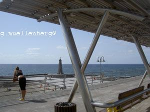 Stainless steel roof shelter by the  pools and beach of Bajamar.