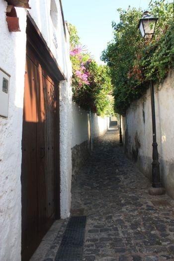 Steep cobble stone alley El Callejon Aregume leading to the mount from the town center.
