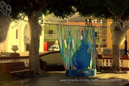 Storyteller corner on Plaza de la Luz by the Ex-convent San Sebastian and the Town Hall.