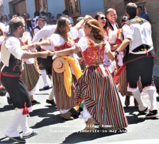 Public street folk dancings by local bystanders in Los Realejos patron Fiestas