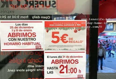 Supercor display board giving regular business hours for December 25, January 01 and 06 which are the top Tenerife holidays when all other big supermarkets are closed