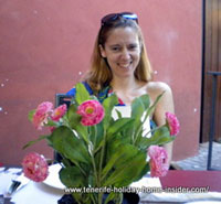 Table flowers of a Tenerife terrace restaurant