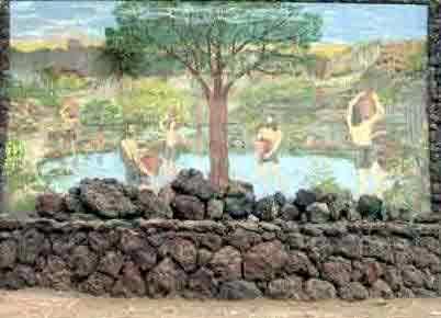 Taoro Guanche enclave by historical mural at Puerto de la Cruz Taoro Park.