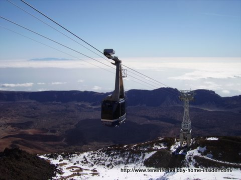 Teide Cable car called Teleferico on winter duty