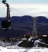 Mount Teide cable car above snow Tenerife