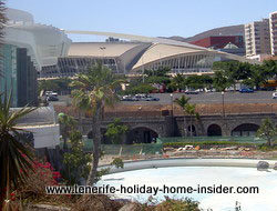 Tenerife auditorium outside parking in front of the Fair grounds Recinto Ferial. There is inside parking as well now.
