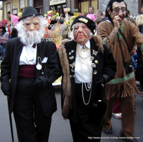 Tenerife Carnaval characters dressed in black for the Funeral of the Sardine.