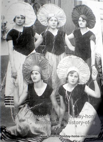 Tenerife carnival history of 1920 by  ladies with strange hats