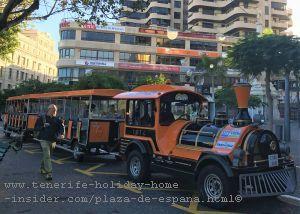 Tenerife city mini tourist train on Plaza de Espana