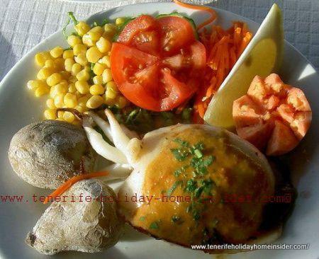 Tenerife cuisine with Squid seafood