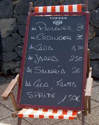 Tenerife drink prices at Omni Tenerife