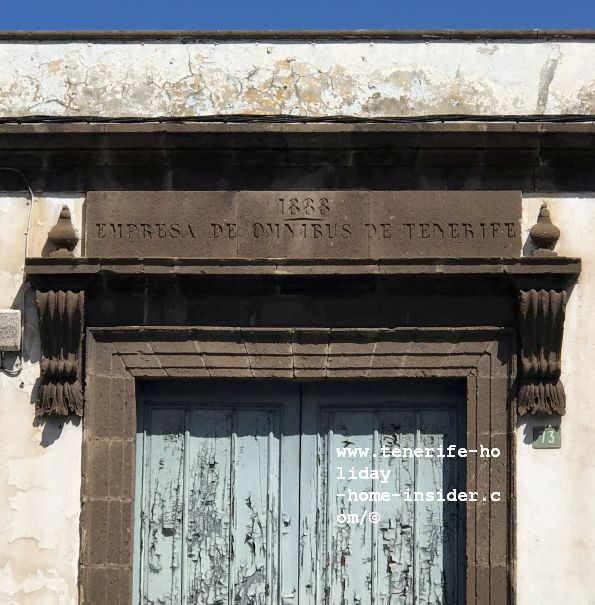 Tenerife Empresa de omnibus 1888 engraving  above the main portal of  its almost 150-year-old building of the Icod de Los Vinos society on the main town motorway