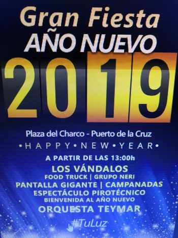 Tenerife event new year celebration on Plaza del Charco with live music and food trucks from 1 p.m.onward