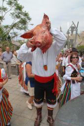 Tenerife festival participant with a real pig's head.