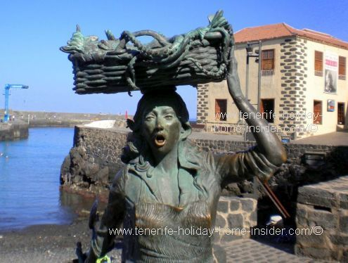 Tenerife history Puerto de la Cruz by the fishwife. She is the icon of the town of humble beginnings of a community and first trade.