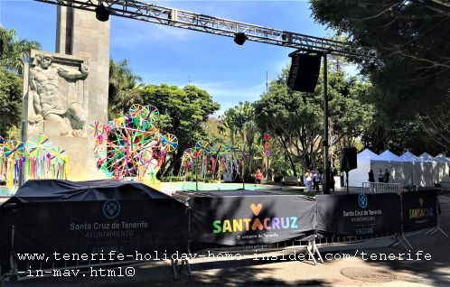 Tenerife in May with its decorated  podium that is ready in 2019 for Fiesta de la Cruz concert and shows in the Park Garcia Sanabria