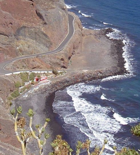 Tenerife naturist beach behind Playa de las Teresitas seen from Monte Suculum.
