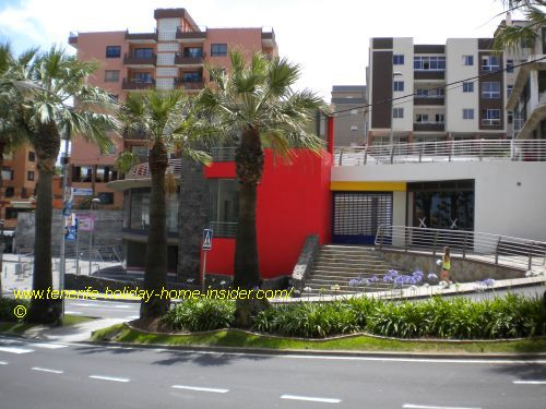 Tenerife parking on Plaza Bencomo Los Realejos in the red building that's depicted above.