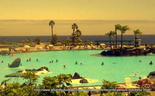 Tenerife Parque Maritimo of Santa Cruz with its three gigantic lake-like saltwater swimming pools.