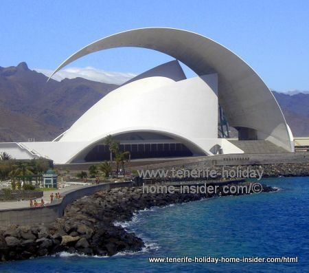 Tenerife Santa Cruz Auditorio in its capital with Anaga Massif behind