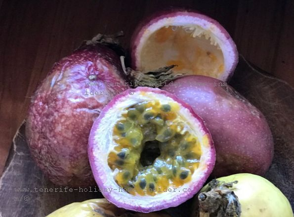 Tenerife shopping Passionfruit Granadillas at La Longuera-Very healthy and cheap at less than one Euro growing locally