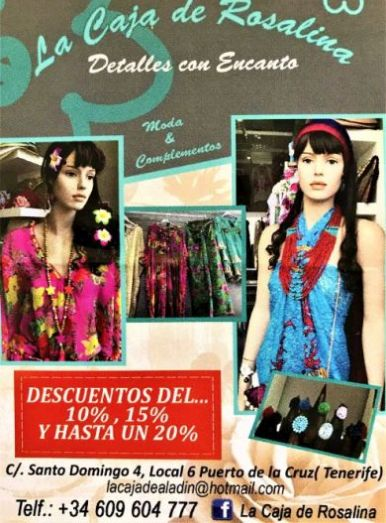 Tenerife shopping Puerto Cruz at Caja Rosalina for exclusive female garments for the young at heart. Note shop business times and contact details on the photo