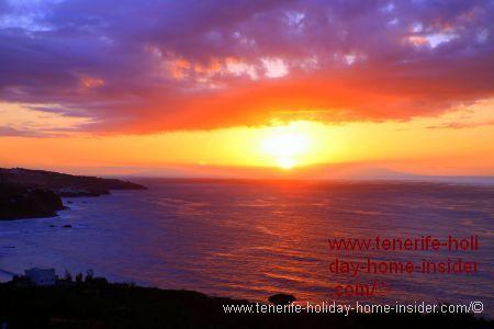 Tenerife sunset above Rambla de Castro Mirador San Pedro Valley.