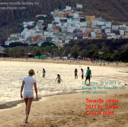 Tenerife Teresitas winter swimmers late afternoon December 2011.