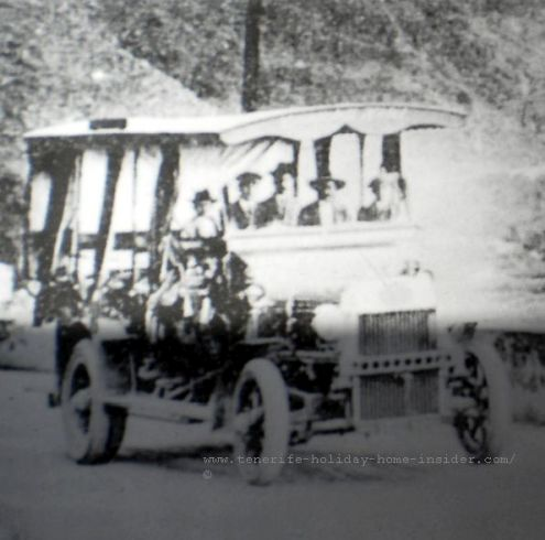 Tenerife Transport by Titsa Guagua forerunner dating back to early XX a very faded old photo courtesy of Los Realejos archives
