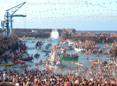 Tenerife Fiestas with a dicey embarkment in July on Dia del Carmen when air and water almost explode with emotions and excitement.