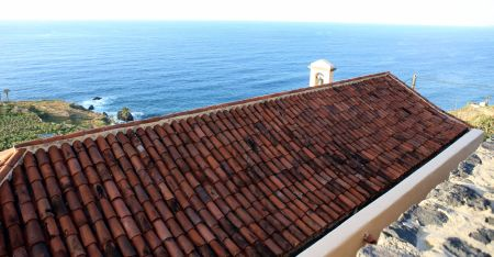 Terracota tiled roof of Hermita de San Pedro by the lookout.